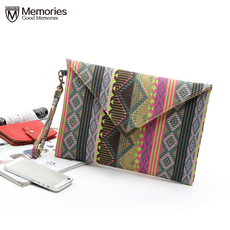 Woman Handbag National flavor geometric canvas bags Envelope package ethnic style hand bags women phone package purses wallet