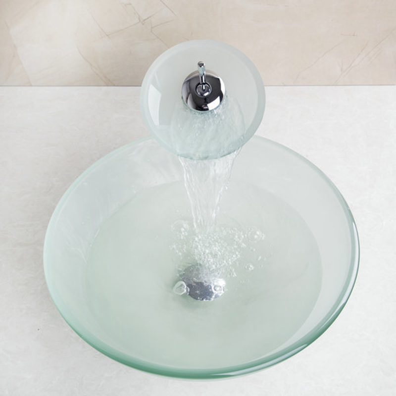 Výsledok vyhľadávania obrázkov pre dopyt Glass Waterfall Bathroom Kitchen Sink Round Basin Faucet Single Lever Mixer Tap