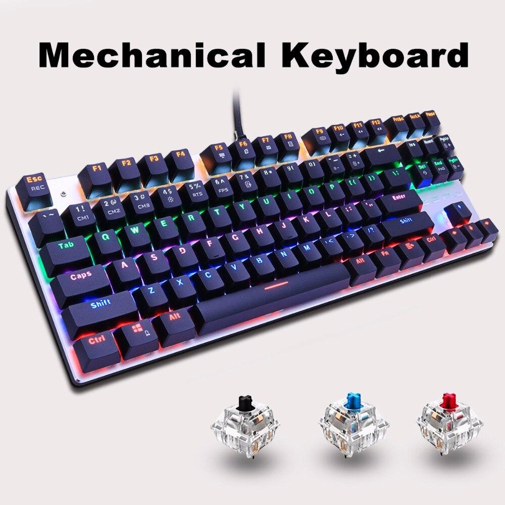Teclado mecânico backlight gaming teclado 87key anti-fantasma preto azul vermelho interruptor com fio usb led ru/eua para computador portátil do computador portátil do jogador