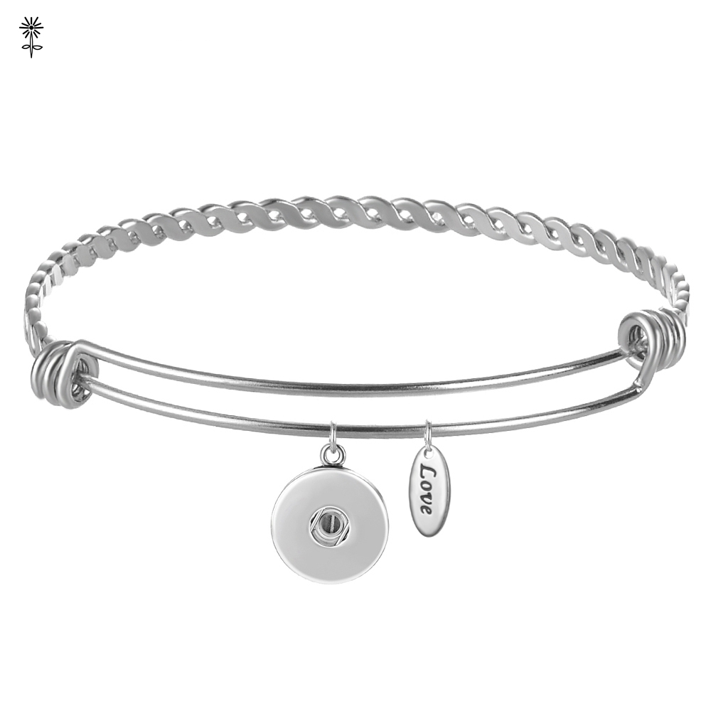 12mm,18mm Snap Button Ginger Snap Jewerly Expandable Wire Bracelet Stainless Steel, Charm Bangle Bracelet for Women image