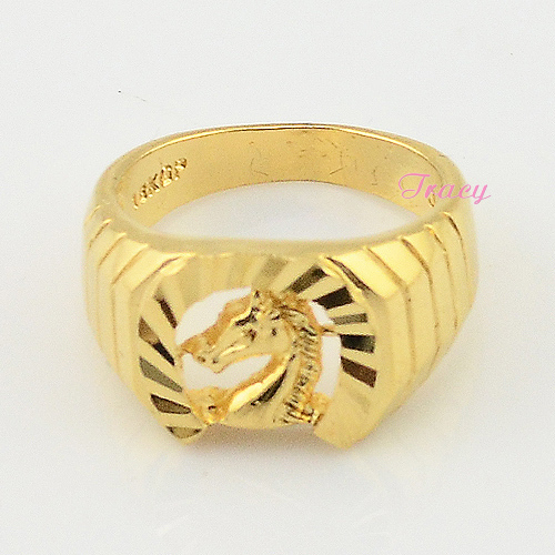 13mm Men Jewelry Rings With Horse 18K Real Gold Plated Wedding