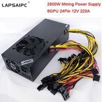 2800W Mining Miner Power Supply for Eth Rig Ethereum Bitcoin Miner Machine 220A 12V Support 6 GPU 8 GPU 12 GPU 24Pin in Stock