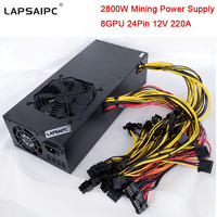 2800W Mining Miner Power Supply for Eth Rig Ethereum Bitcoin Miner Machine 220A 12V Support 6 GPU 8 GPU 12 GPU 24Pin in Stock
