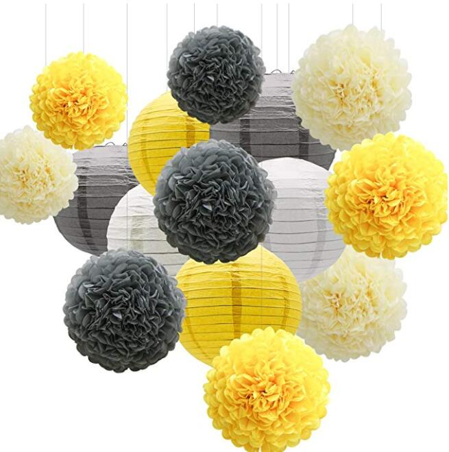 15pcs Party Decorations Set, Yellow Gray White Paper Flowers Pom Poms Balls and Lanterns for Wedding Birthday Bridal Baby Shower