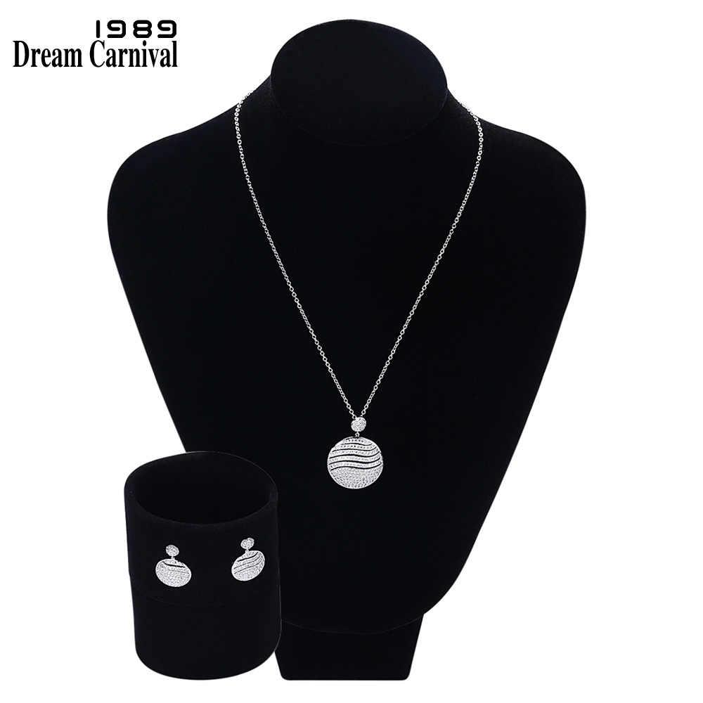DreamCarnival1989 Qualität Zirkonia Anhänger Halskette Büro Geschenk Schmuck Runde form Metall Messing Set Schmuck Zubehör