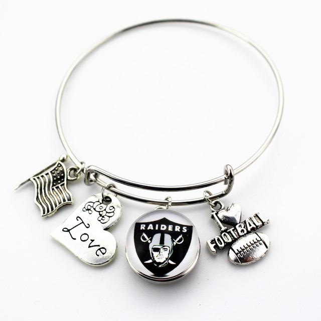 10pcs Oakland Raiders Football Sports Ginger Snap Bracelet Jewelry Expandable Adjule Wire Hook Bangles