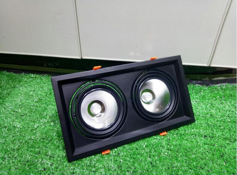 10 pièces carré 2 tête 30W dimmable COB LED vers le bas des lumières noir ou blanc LED plafonniers LED projecteur