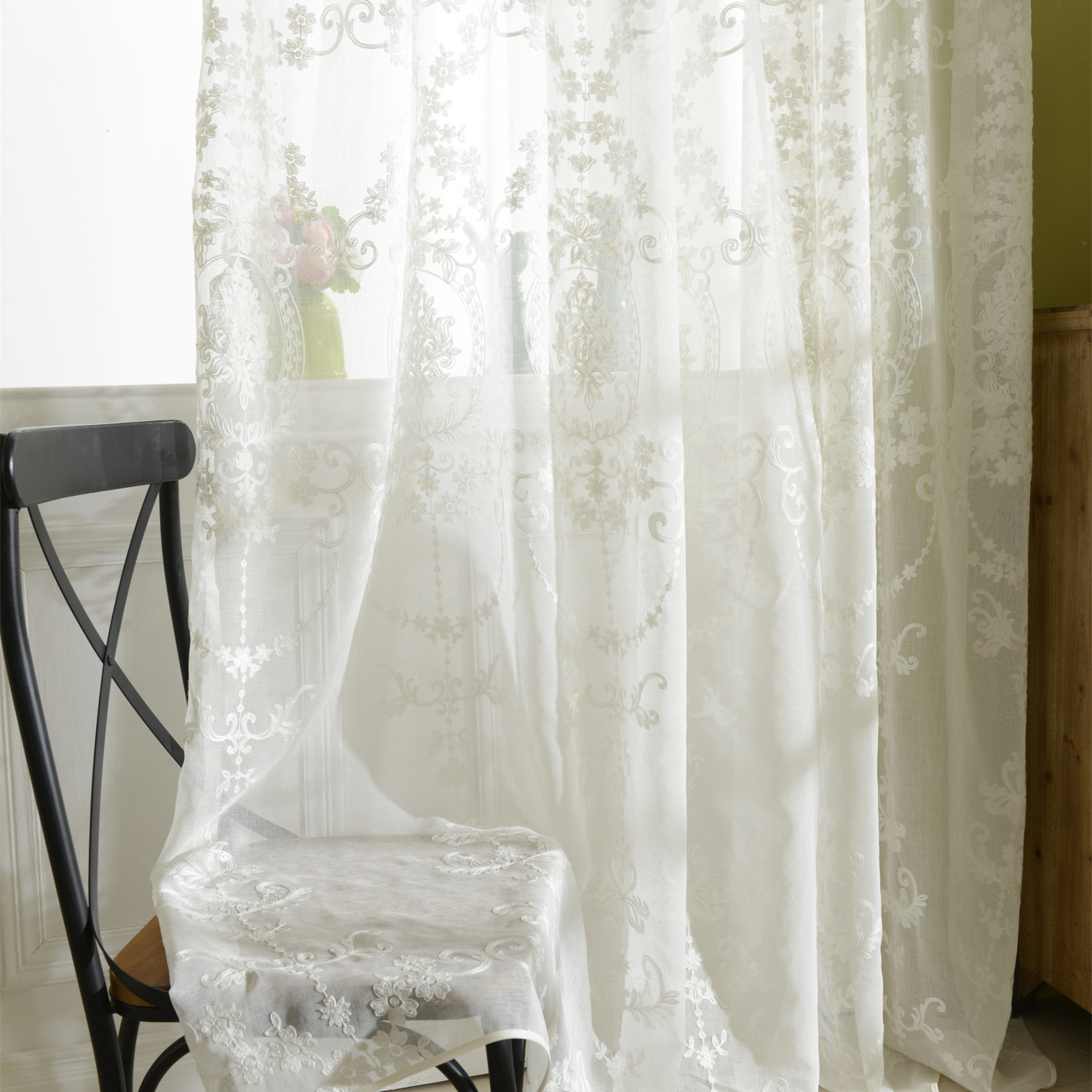 European Embroidered White Tulle Curtains For Living Room European Voile Sheer Curtains For Window Bedroom Lace Curtains