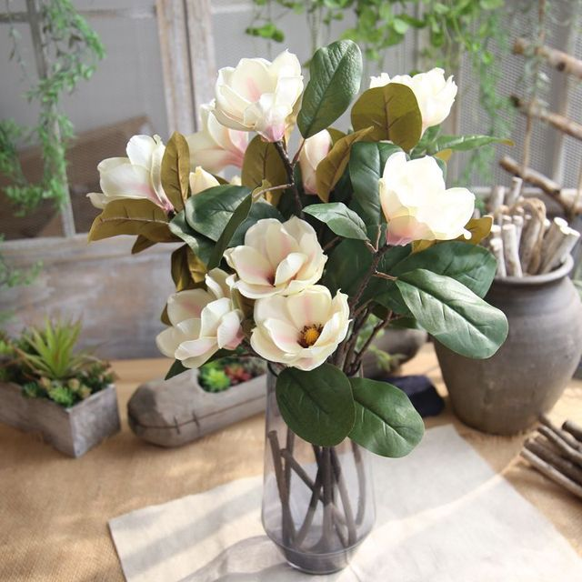 Diy Wedding Arch.Us 6 85 3heads Artificial Magnolia Flower Branch White Plastic Flores Diy Wedding Arch Decorations Fake Flowers Home Table Decor Wreath In