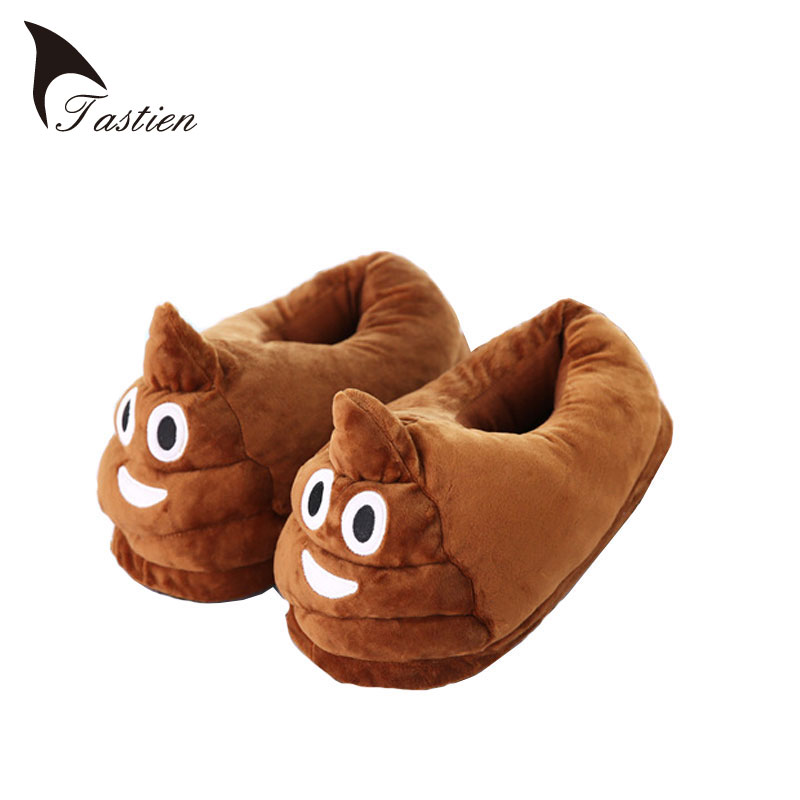 TASTIEN Funny Mens Womens Plush Slippers 2017 Indoor Shoes House Cute Women Slippers Emoji Shoes Warm House Slipper High Quality high quality plush slipper expression men and women slippers winter house shoes one size oct20