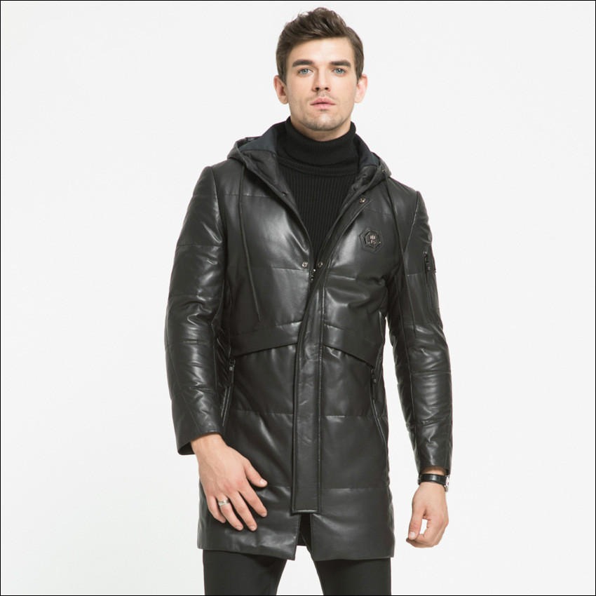 maylooks Men's Real Leather Motorcycle jacket Hood winter coat Men Warm First layer sheepskin Leather casual jackets HN244