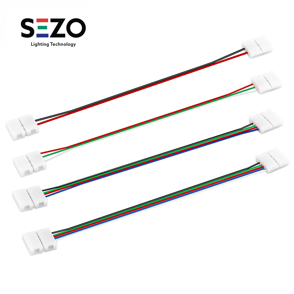 1 pcs <font><b>2pin</b></font>/3pin/4pin/5pin Single/Dual End Solderless Cover <font><b>Connector</b></font> 8mm/10mm/12mm 15cm <font><b>Cable</b></font>/Wire WS2812B/WS2813 LED Strip image