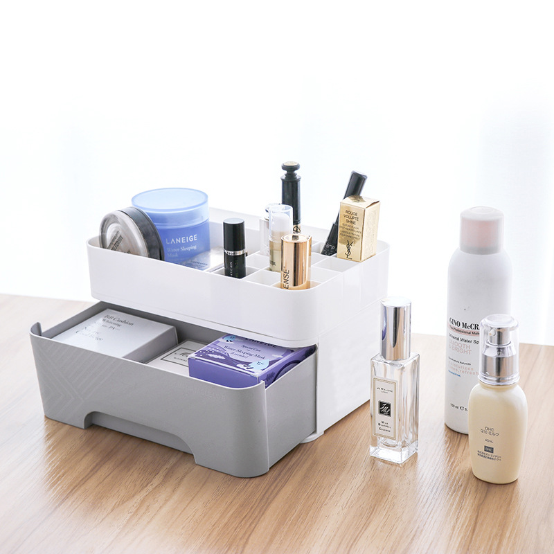 Quality Multifunctional Plastic Desktop Drawer Cosmetic Storage Box Dresser Jewelry Lipstick Rack Holder Nail Polish Organizer