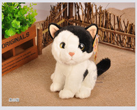 about 18cm simulation black&white cat plush toy squatting cat soft doll, baby toy present Xmas gift 0743