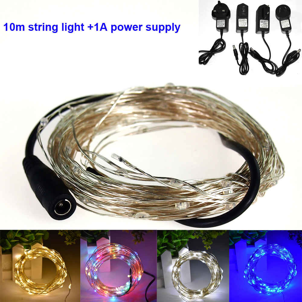 DC12V 5M/10M LED Outdoor Silver Wire LED vines String Light for Christmas Festival Wedding Party Garland Decoration Fairy Light