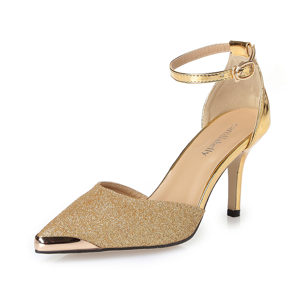 Thin High Heels Women Pumps Sexy Glittery Leather Bright Mental Gold pointed Toe Shoes Mixed Color Gold Black Silver
