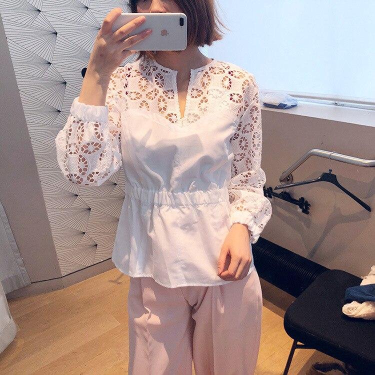 Kadın Giyim'ten Bluzlar ve Gömlekler'de Kadın Gömlek 2019 Bahar ve Yaz Tatlı Dantel Ajur Desen Uzun kollu Gömlek'da  Grup 1