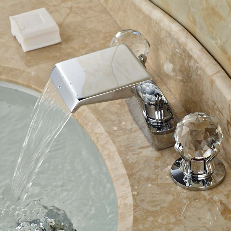 High Quality Bathroom Sink Faucet Dual Handles Three Holes W/ Hot Cold Water Taps