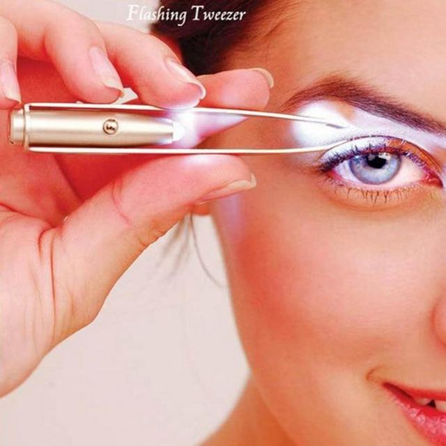 New Women Fashion Professional Stainless Steel Makeup LED Light Slant Tip Hair Removal Eyelashes Eyebrow Tweezers  Tool J22