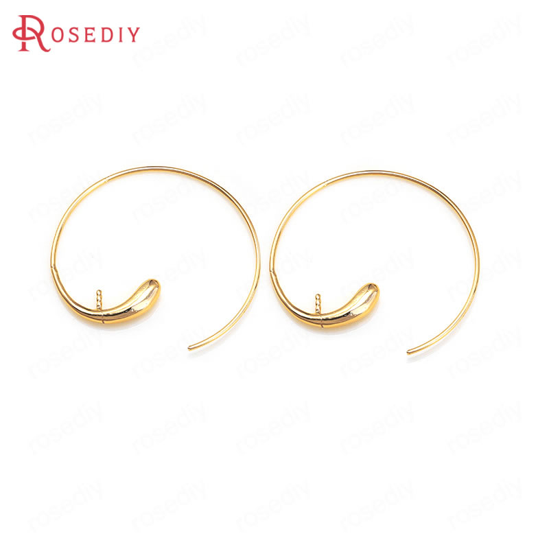 (36023)6PCS 22x22MM 32x33MM 24K Gold Color Brass With Half Hole Pin Earring Hooks High Quality Diy Jewelry Findings Accessories