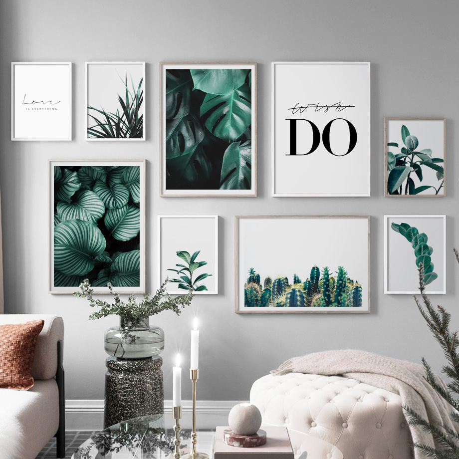 Fresh Leaves Monstera Cactus Wall Art Canvas Painting Nordic Posters And Prints Green Plant Wall Pictures For Living Room Decor in Painting Calligraphy from Home Garden