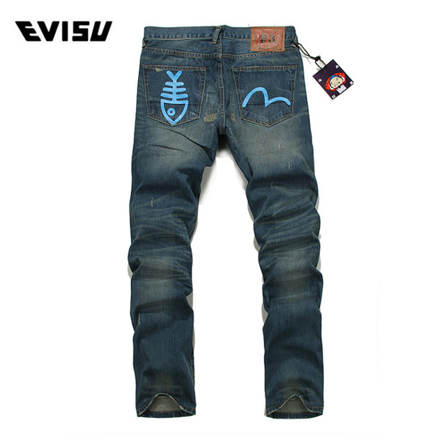 4fc1f2bd50cb Evisu 2018 Men hipster jeans Casual Fashion Trousers Printing Men Pockets  Jeans Straight Long Classic Blue Jeans For Men 6001