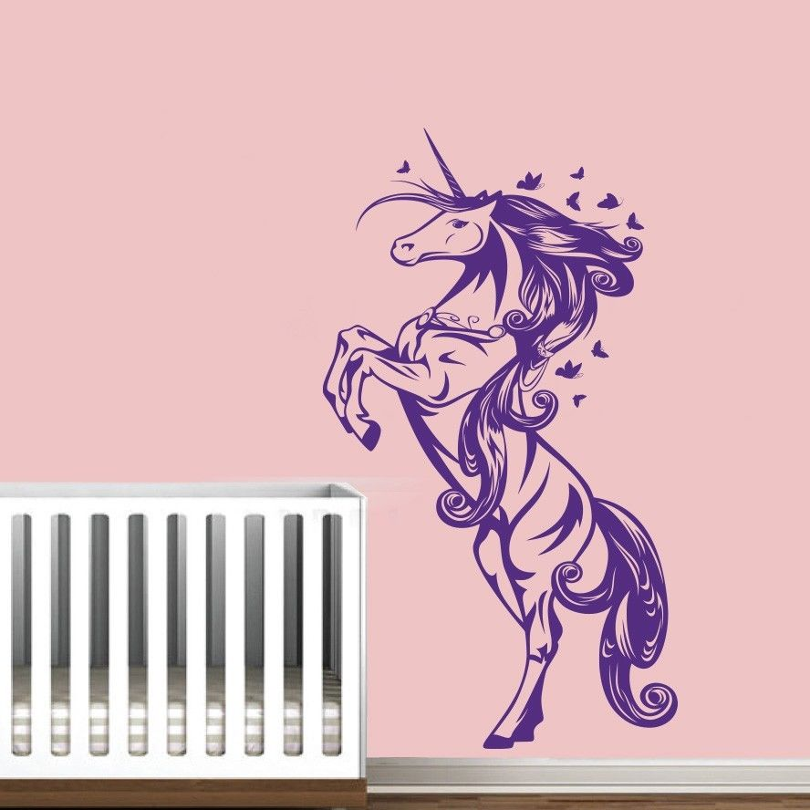 ee61d332f الكرتون يونيكورن الحصان الحضانة بنات نوم جدار صائق ديكور المنزل ملصق الفن  الفينيل ورق الحائط جدارية للأطفال الأطفال Y-190