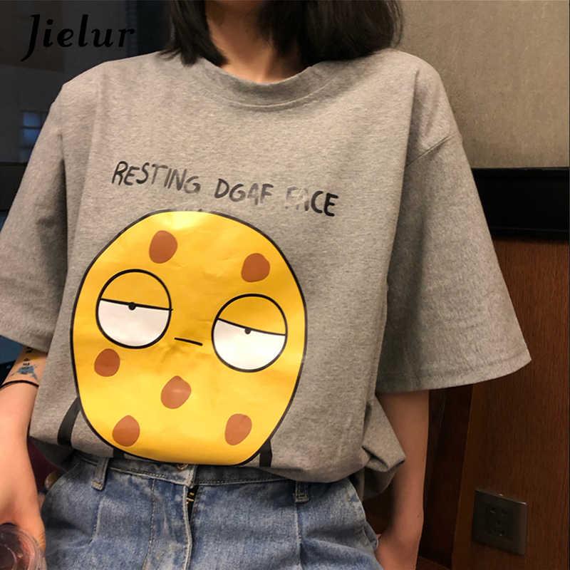 Jielur женская футболка с мультяшным принтом свободная в Корейском стиле забавный Простой Топ женская летняя футболка для отдыха черный серый белый цвет женская футболка