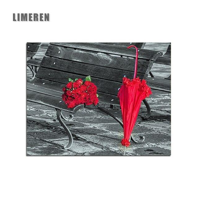 Bunga Mawar Merah Payung Gambar Mewarnai Dengan Angka Romantis
