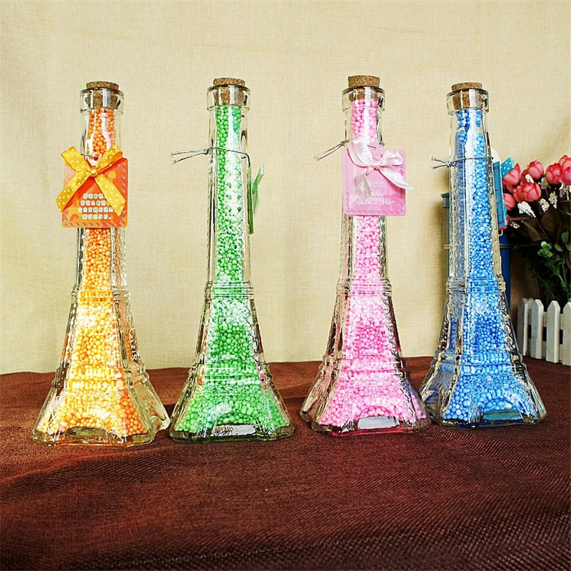 Cork Stopper Glass Bottles Transparent Eiffel Tower Jars Containers Diy Wishing Bottle Flower