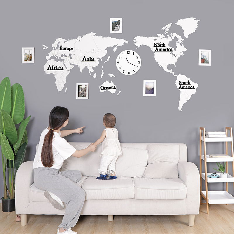 World map acrylic wood 3D self adhesive wall sticker wall clock Living room sofa sticker Office decoration background photo wall - 3