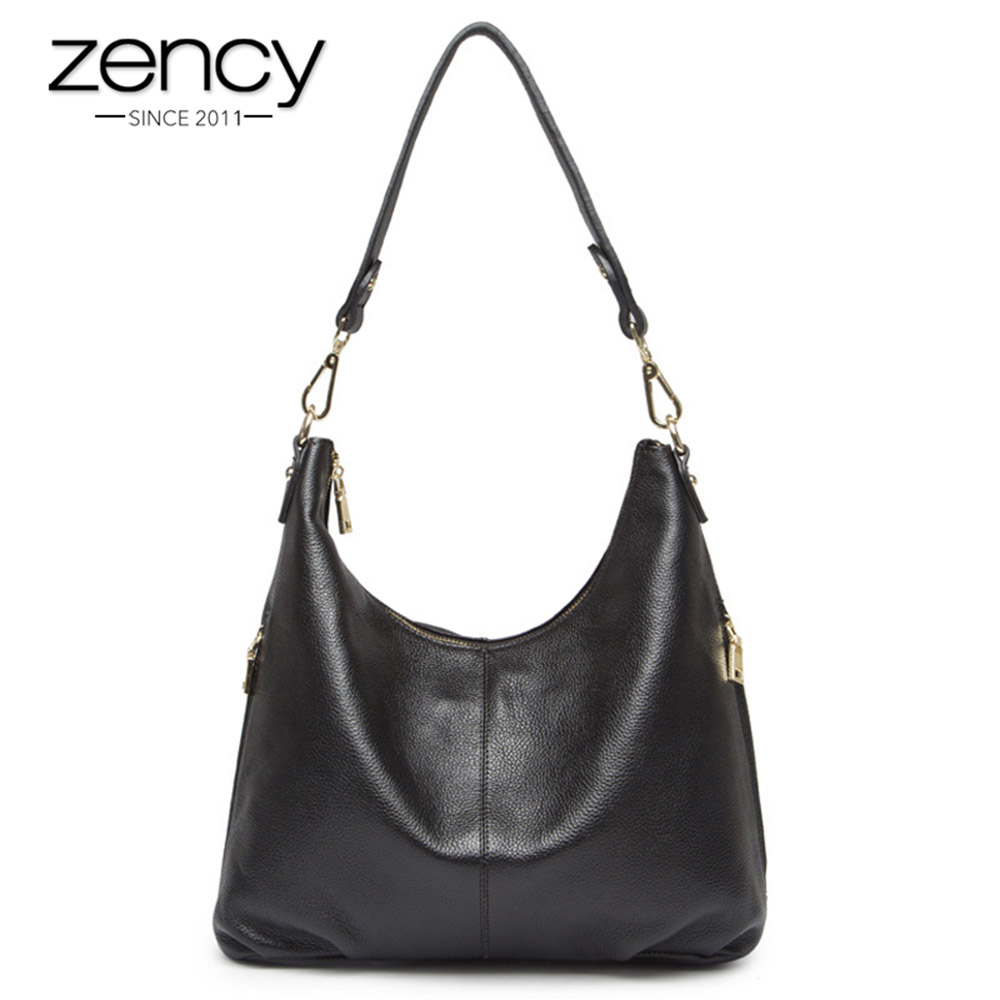 Zency 100% Genuine Leather Fashion Women Shoulder Bag Black Handbag Lady Crossbody Messenger Purse Tote Both Sides Zipper Pocket 2017 new fashion 3pcs women lady handbag shoulder bag lady tote messenger leather crossbody purse set solid zipper gift soft
