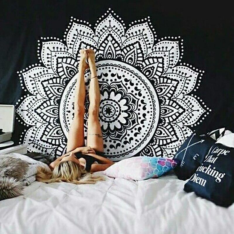 Tapiz de loto impreso Bohemia Boho Mandala tapiz colgante de pared para decoración de pared Hippie tapiz de playa Toalla de Yoga