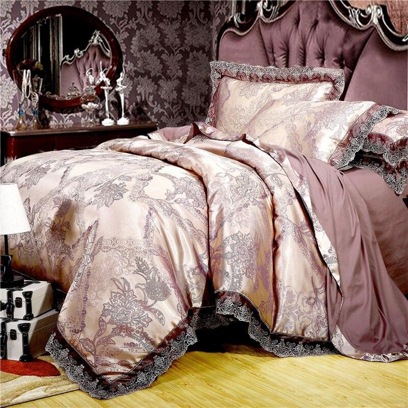 Juego de cama de satén jacquard de lujo juego de cama de tamaño queen/king color dorado plateado 4 piezas de algodón de seda de encaje edredón juego de sábanas-in Juegos de ropa de cama from Hogar y Mascotas    1
