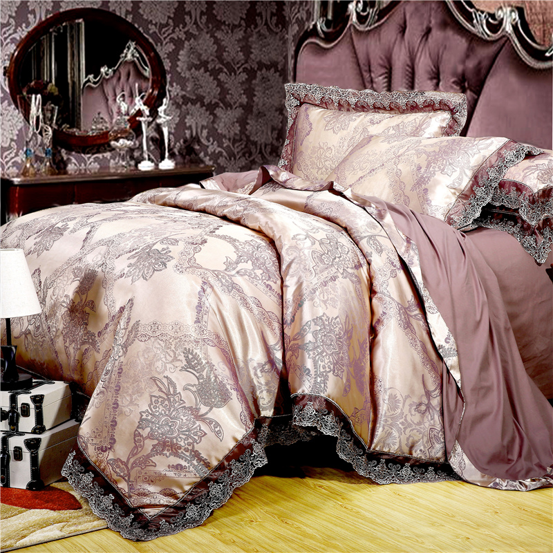 Luxury Satin Jacquard Bedding Set Queen/king Size Bed Set Gold Silver Color 4pcs Cotton Silk Lace Duvet Cover Sets Bedsheet Set