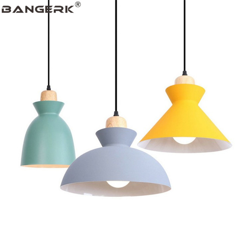 Nordic Loft Industrial Decor LED Pendant Lamp Modern Wood Iron Pendant Lights Dining Room Hanging Light Home Lighting Fixtures modern foscarini spokes 1 2 pendant lights led hanging lamp industrial cage suspension home decor living room lighting fixtures