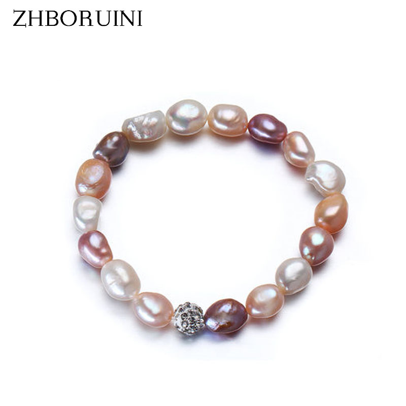 ZHBORUINI 2019 Charm Bracelet Pearl Jewelry Baroque Pearl Bracelet Mix-color Natural Freshwater Pearl Bracelet For Women Gift