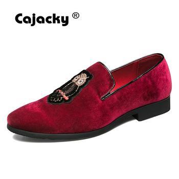 Zapatos de hombre Cajacky vestido rojo vino mocasines búho hombres mocasines talla grande fiesta boda graduación hombres zapatos de conducción Slip On zapatos casuales de los hombres