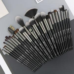 Image 4 - Набор кистей для макияжа BEILI Black, 40 профессиональных кистей для макияжа, Мягкая натуральная щетина, пудра, растушевка, основание веера для бровей, Кисть для макияжа