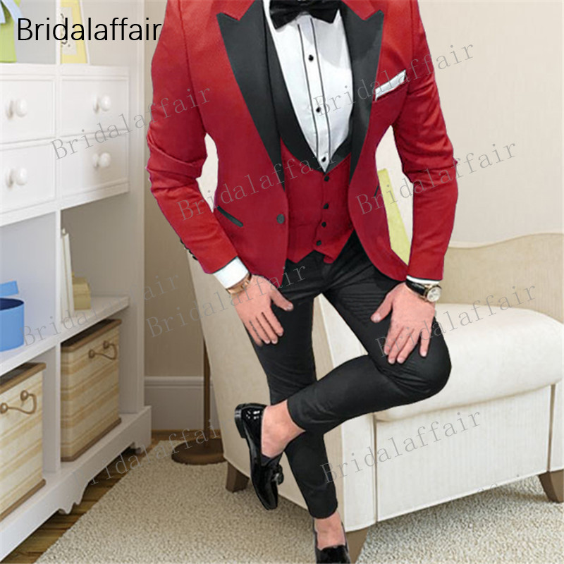 Bridalaffair New Arrival Men's Costume Groomsmen Red Slim Fit 3 Pieces Tuxedo Set Wedding Suits Custom Made Prom Best Man Blazer