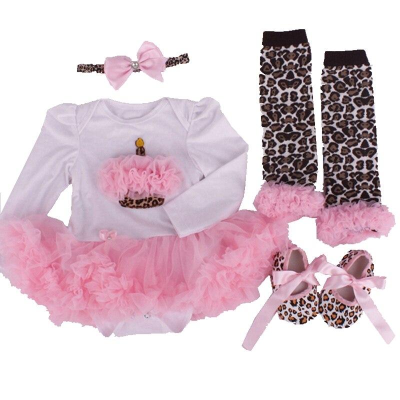 Birthday Cake Newborn Tutu Sets Lace Romper Dress Warmers Crib Shoes Headband 4pcs Girls Birthday Outfits Baby Girl Clothing Set