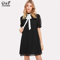Dotfashion Black Contrast Tie Neck Frill Trim Jacquard Dress 2018 Summer Women Short Sleeve Stand Collar