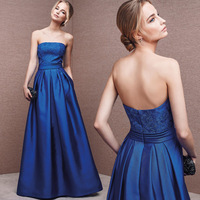 2018 Backlackgirl New Arrival Hot High Quality Floor length A line Empire Sleeveless Backless Blue Stain Long Evening Dresses