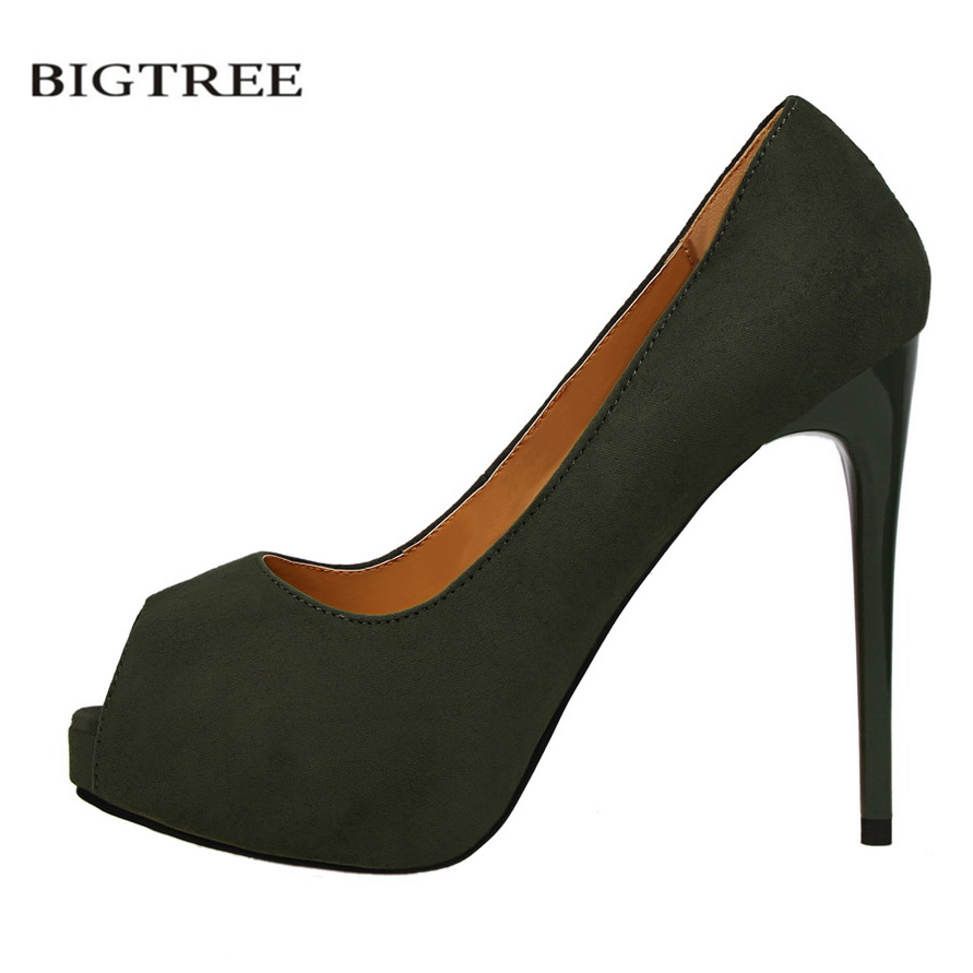 BIGTREE Summer Open Toe Pumps Thin Heeled Suede High Heels Shoes Sexy Single Female Platform Sandals Women High Shoes G1675-2