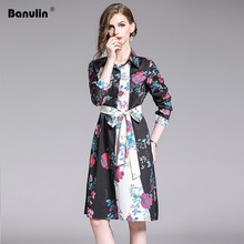 Banulin New 2019 Fashion Designer Runway Summer Dress Womens Long Sleeve Elegant Belted Printed Knee Length Shirt