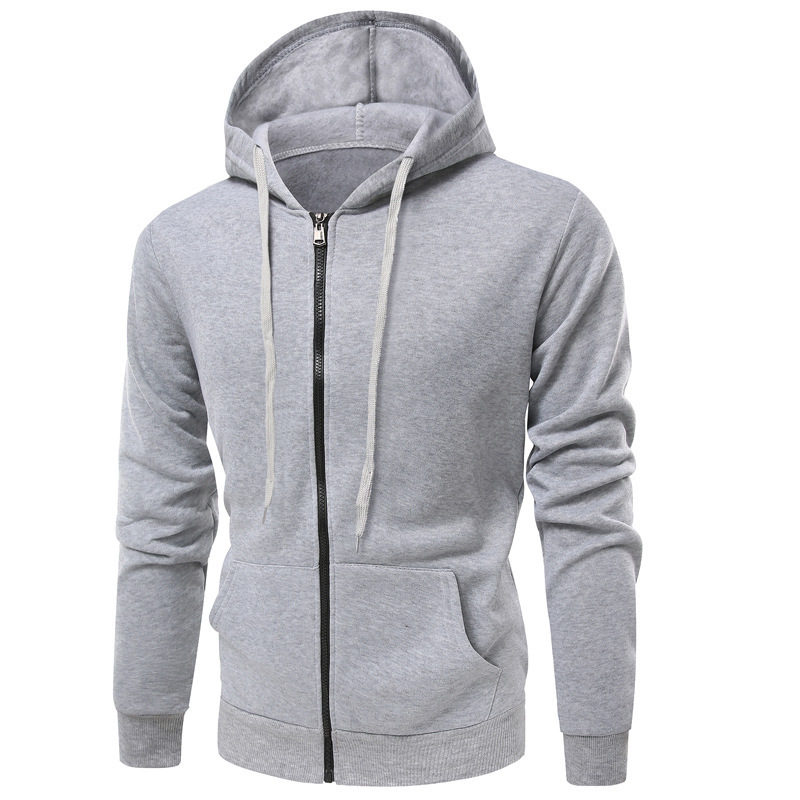 Autumn Winter New Men's Fashion Solid Color Hoodie Men Casual Zipper Cardigan Long Sleeve Hooded Coat Hoodies 5colour