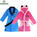 Minnie Mouse Child Bathrobe 100% Polyester Kids Bathrobes Beach Pool Swimming  Poncho Towel Coral Girls Boys Sleepwear