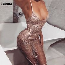 Deep V Neck Sequined Backless Sexy Dress Women Off Shoulder Mini Genuo Christmas Party Club Strap Short Dresses Vestidos