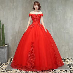 Image 4 - Robe Quinceanera, rouge rose, épaules dénudées, avec perles, application, grandes robes De bal, robe bouffante, bal De mascarade