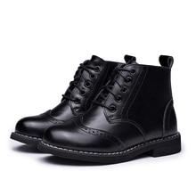2017 Детские ботинки Boys Snow водонепроницаемая обувь детские ботинки из натуральной кожи мальчик сапоги девушки Мартин теплая обувь Спортивная обувь